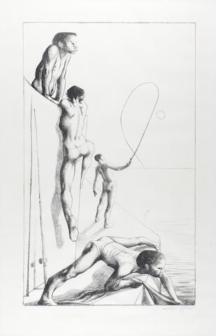 Michael Ayrton (British, 1921-1975) Fisherman lithograph, signed in pencil (lower right), with blindstamp, 62.5 x 37.5cm.