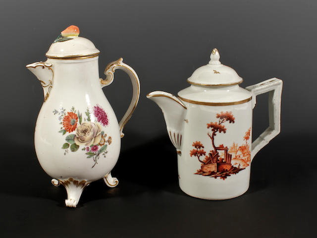 A Ludwigsburg milk jug and cover and a Limbach example, circa 1760