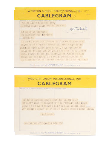 A cablegram from Pat Boone to Brian Epstein regarding the Beatles attendance at a party in Las Vegas organised by the singer,  dated 64 JUN 27,