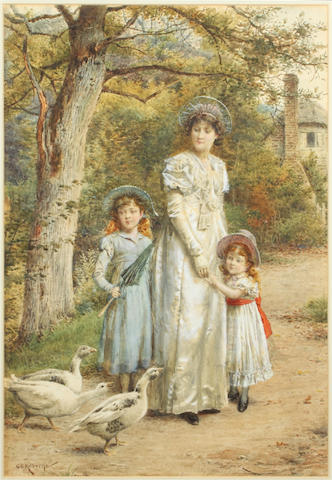 George Goodwin Kilburne, RI, RBA (British, 1839-1924) An encounter with geese