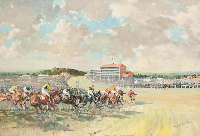 Graham Smith (British, 20th Century) The Derby, Viewed from Tattenham Corner,