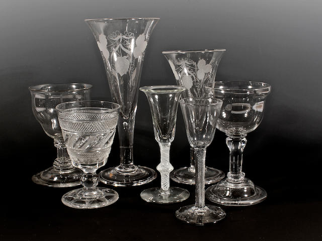 A group of seven glasses, 18th century and later