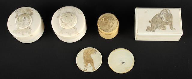 A small group of Japanese ivory boxes
