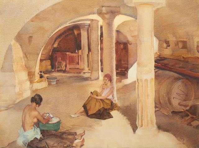 Sir William Russell Flint R.A., P.R.W.S. (British, 1880-1969) Retreat from the Sun, Algillier, Provence