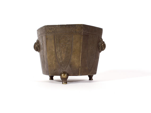 A Chinese metalware hexagonal tapering bowl, 17th-18th century