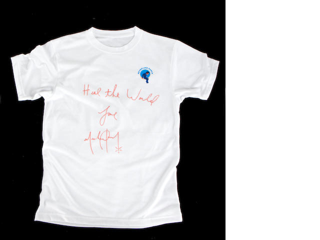 Michael Jackson: a signed 'Neverland' T-Shirt,