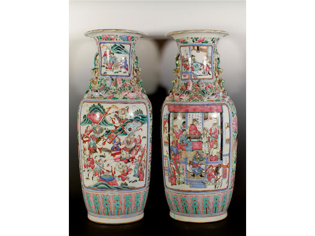 A pair of Canton export famille rose vases