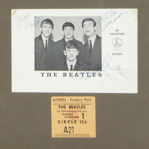 An autographed Beatles Parlophone publicity photograph, 1963,