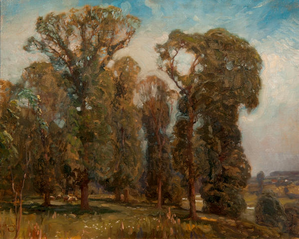 Sir Alfred James Munnings P.R.A., R.W.S. (British, 1878-1959) Landscape with sheep, Dedham
