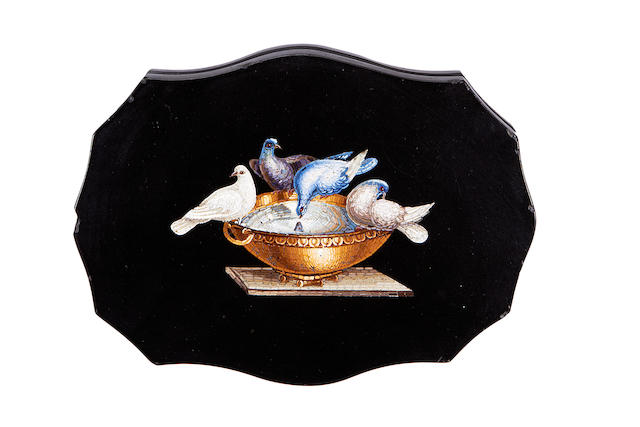 A 19th century Roman micromosaic paperweight depicting Pliny's Doves