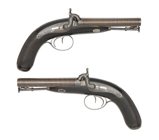 A pair of d.b. percussion pistols by Purdey, mid-19th century