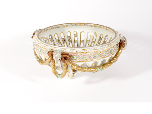 A Meissen Marcolini pierced basket, with later decoration, late 18th/early 19th century