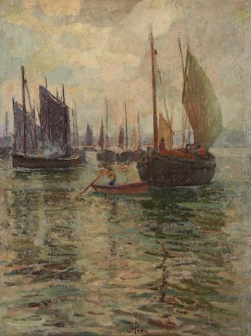John Anthony Park (British, 1880-1962) Busy harbour scene