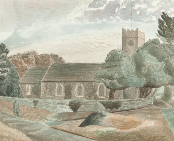 Edward Bawden R.A. (British, 1903-1989), 'The Church at Dunwich'