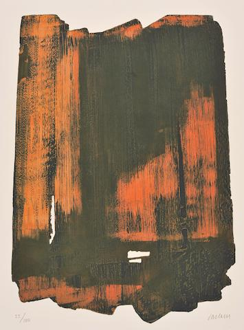 Pierre Soulages (French, born 1919) Eau-Forte XVI Etching, printed in colours, 1961, on wove, signed and dedicated in pencil, 750 x 560mm (29 1/2 x 22in)(SH) unframed