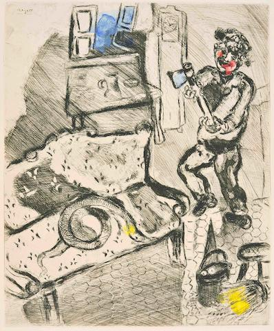 Marc Chagall (Russian/French, 1887-1985) Fables - Jean de La Fontaine Etchings, 1952, five from the series, each hand coloured by the artist, unsigned impressions, on wove, the full sheets, from the total edition of 200 of which 85 sets were hand coloured, published by Tériade, Paris;   5 unframed