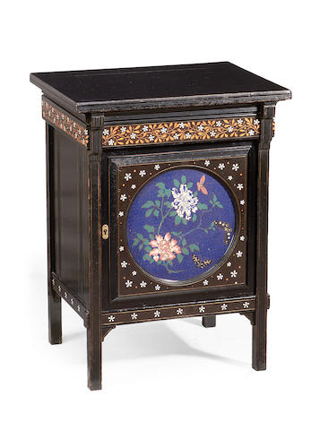 A Victorian 'Aesthetic Movement' ivory and fruitwood inlaid, ebonised and cloisonne enamel bedside cabinet