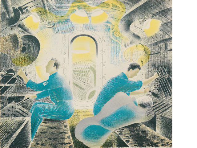 Eric William Ravilious (British, 1903-1942) Submarines - The Engine Room Colour lithograph, 1940-41, on thin wove, printed by W.S.Cowell, Ipswich, from an edition of approximately 50, published by the artist, 280 x 320mm (11 x 12 5/8in)(SH)
