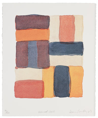 Sean Scully (Irish, born 1946) Coloured Wall Lithograph printed in colours, 2003, on Zerkal Copperplate deluxe paper, signed, titled, dated and numbered 52/150 in pencil, printed at Atelier 28 with their stamp verso, 290 x 245mm (11 58 x 9 5/8in)(SH); together with the accompanying hardback book by David Carrier, in the original red slipcase, 310 x 258mm (Vol)