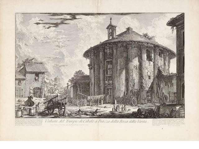 Giovanni Battista Piranesi (Italian, 1720-1778) A Small Collection of Etchings of Rome The Temple of Portunus (The Round Temple near S.M. in Cosmedin)(H47), 1758, the second state of five, 400 x 595mm, The Waterall at Tivoli(H75), 1765, the second state of five, 475 x 703mm, Palazzo della Consulta(H22), 1729, the fourth state of six, 405 x 610mm, Grand'Urno di Porfido(F304), 395 x 600mm, Mausoleum of Augustus from Antichita Romane, 395 x 520mm, plus one by Francesco Piranesi, Hadrian's Villa: The So-Called Heliocaminus(H133), 1777, the first state of three, all on thick watermarked laid, the last two have the full sheets, the rest have trimmed margins  6 unframed