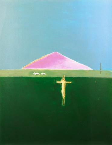 Craigie Aitchison (British, 1926-2009) Crucifixion and Mountain Screeprint in colours, 2005, on wove, signed and numbered /75 in pencil verso, published by Advanced Graphics, London, the full sheet printed to the edges, 1100 x 850mm (43 1/4 x 33 1/2in)(SH)