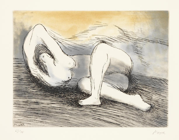 Henry Moore (British, 1898-1986) Sketchbook 1928 The West Wind Relief The complete Edition B, 1980, comprising the etching and aquatint in colours, on Arches, with wide margins, signed and numbered 67/75 in pencil, with the accompanying catalogue and facsimile sketchbook signed in ink and numbered B 67/75 in pencil, published by Raymond Spencer Company Ltd., Much Hadham, contained in the original Solander box covered in green Richard de Bas paper, 223 x 298mm (8 3/4 x 11 5/8in)(PL), 415 x 330mm (Folio)