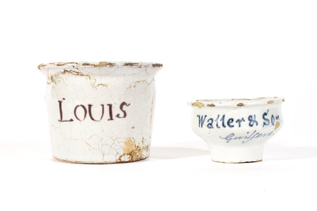 Two rare London delftware apothecary ointment pots, 18th century