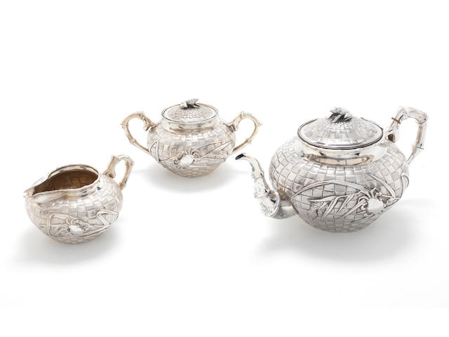 A late 19th/early 20th century Chinese Export three-piece tea service by Hung Chong, probably Canton, circa 1900  (3)