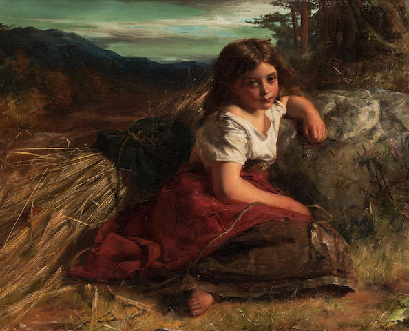 Robert Herdman, RSA RSW (Scottish, 1829-1888) Young girl resting at the edge of the cornfield