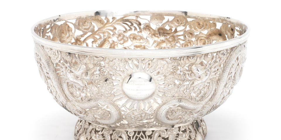 An impressive late 19th/early 20th century Chinese export   pierced silver  bowl by Wang Hing, also stamped '90' with character mark,