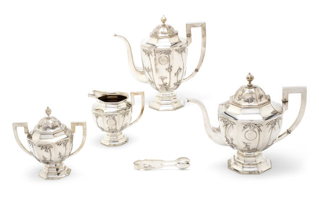 A Chinese export silver four-piece tea and coffee set by Zeewo, first quarter of 20th century  (5)