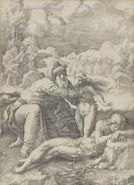 A Collection of Old Master Prints Hans Sebald Beham engravings, five from The Labours of Hercules: Hercules overcoming the Hydra(B102), Hercules fighting the Trojans(B101), Hercules and the Columns of Gaza(103), Hercules and Anthaeus(B105), Hercules and the Centaur(B96), c.1545, 54 x 79mm(PL). The four Evangelists: St Matthew(B55), St Mark(B56), St Luke(B57), St John(B58), 44 x 30mm(PL). Four of the Seven Virtues: Prudence(B130), Charity(B131), Justice(B132), Hope(B134), 40 x 24mm (PL). A complete set of Jacques Callot engravings of Lux Claustri(L599-625), 1628, 60 x 80mm(PL), all  pasted into a book, 190 x 130mm. Two Lucas van Leyden engravings The Creation of Eve(H1), 162 x 116mm and The Fall of Man(H3), 1529, 162 x 115mm, both first state of three. Two Durer woodcuts Christ on the Mount of Olives(B6), after 1511 and The Holy Family with three hares(102), 1496, probably a meder g impression, 390 x 280mm(PL), on laid.  Collection