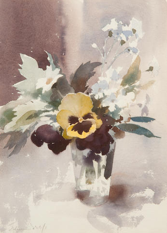 Edward Seago R.W.S. (British, 1910-1974) 'The yellow pansy'