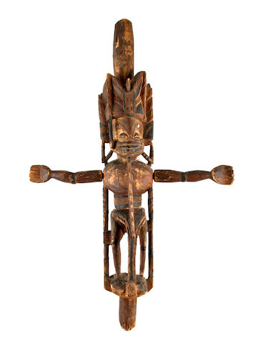 An anthropomorphic malagan carving, totok, New Ireland, 84cm high