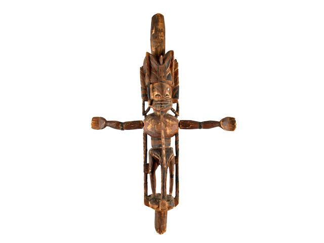 An anthropomorphic malagan carving, totok, New Ireland, 84cm high