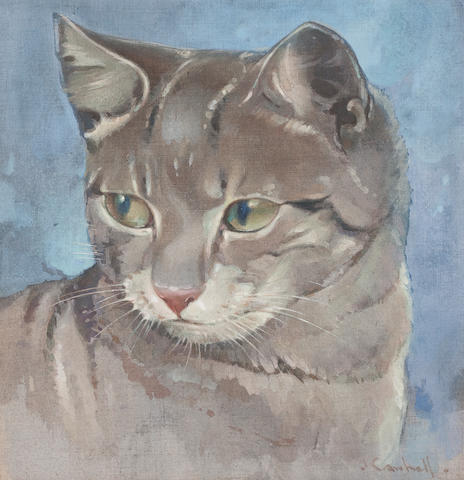 Joseph Crawhall (British, 1861-1913) Tabby Cat  23.25 x 22 cm. (9 1/8 x 8 11/16 in.)