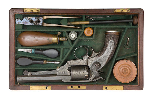 A Cased 50-Bore Kerr Patent Double-Action Percussion Match Prize Revolver