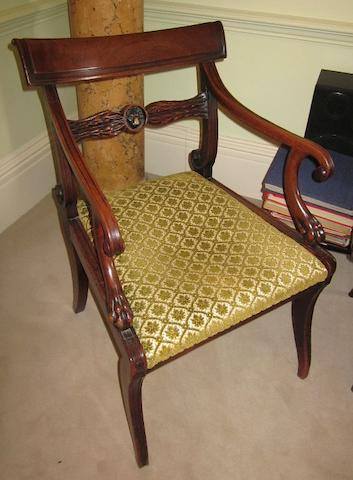 A Regency mahogany carver chair