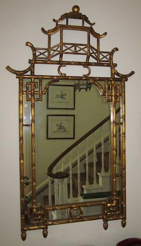 A 20th century simulated bamboo framed wall mirror