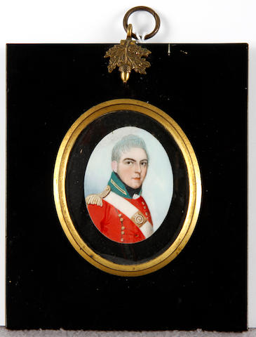 Frederick Buck (Irish, 1771-circa 1840) A pair of portrait miniatures of Captain Webb of the 49th Regiment of Foot and Mrs Follet (née Webb): the former, wearing red coat with green standing collar, gold buttons and epaulette, white cross belt bearing the square belt plate of the 49th, white frilled chemise and black stock; the latter, wearing white dress, fill-in and turban