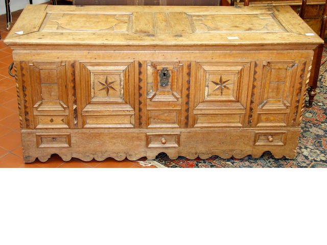 Late 17th Century Flemish or North German panelled oak coffer