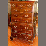 A George III mahogany tallboy in two parts,