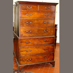 A George III mahogany secretaire tallboy in two parts,