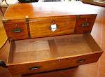 A 19th Century  mahogany   mahogany secretaire campaign chest in two parts