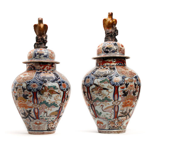 A pair of late 17th Century Japanese Arita baluster vase