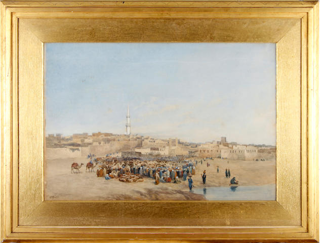 William Paton Burton (British, 1828-1883) 'The market place at Janta, Egypt'