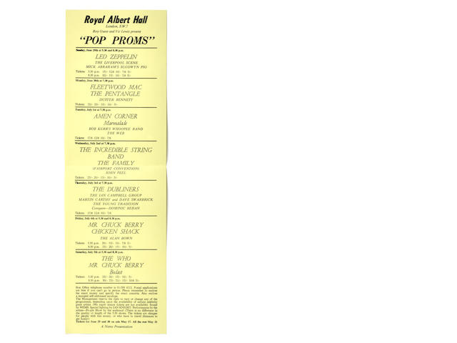 A scarce 'Pop Proms' at the Royal Albert Hall handbill, June/July 1969,