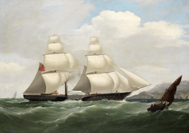 Attributed to Philip John Ouless (British, 1817-1885) A paddle sloop of Her Majesty's navy under sail and steam entering the Tagus bound for Lisbon