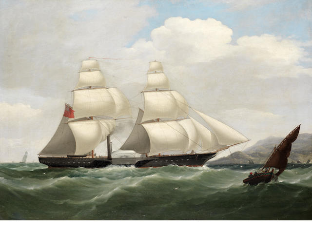 Attributed to Philip John Ouless (British, 1817-1885) H.M. Paddle sloop off the Iberian coast