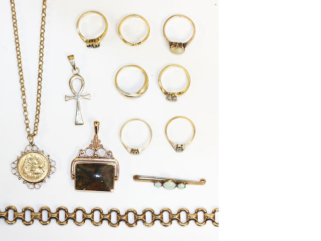 7 various rings, half sovereign, 9ct gold bracelet, swivel fob, opal bar brooch, cross pendant (a lot)